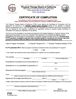 Fillable Online Ptbc Ca Certificate Of Completion Form P1e The Physical Therapy Board Of Ptbc Ca Fax Email Print Pdffiller