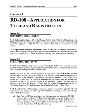 Fillable Online michigan Rd-108 applicationfor title and ...