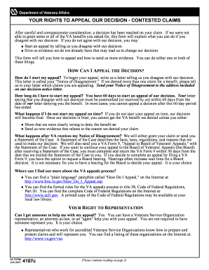 va form 4107 Fillable Online va VA Form 4107, YOUR RIGHTS TO APPEAL OUR DECISION ...