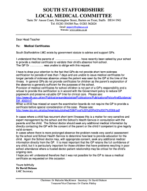 Medical Certificate For School Absence