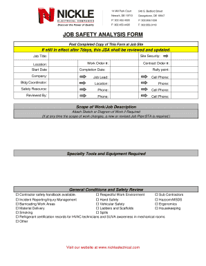 JOB SAFETY ANALYSIS FORM   Nickle Electrical Companies  Job Safety Analysis Template