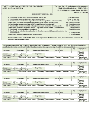 TASC ATTENDANCE SHEET FOR EXAMINEES AGES 16 ... - Acces - acces nysed