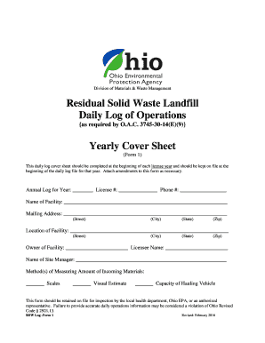 Residual Waste Landfill Daily Log of Operations Yearly Cover Sheet - epa ohio