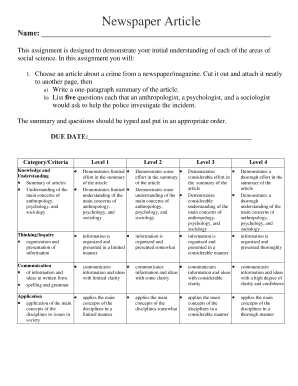 Newspaper Article Summative Evaluation Rubric