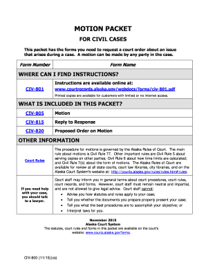 Fillable Online CIV-800 Motion Packet Coversheet for Civil