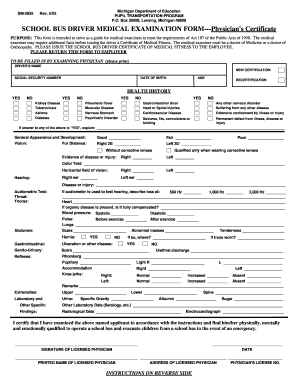 Fillable Online mi SCHOOL BUS DRIVER MEDICAL EXAMINATION FORM ...
