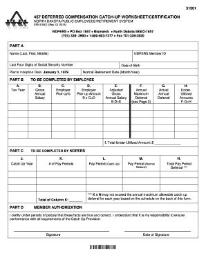 457 deferred compensation catch up worksheetcertification nd