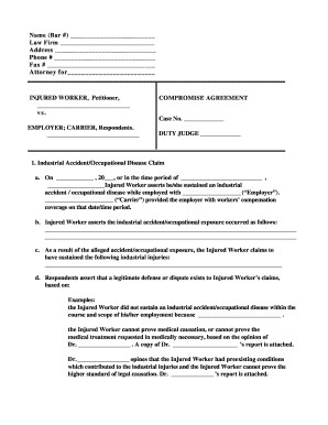 car accident settlement agreement form