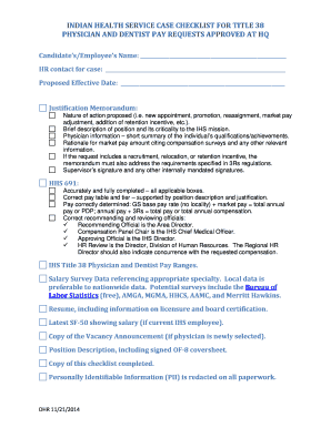 Fillable Online ihs IHS Case Checklist for Title 38