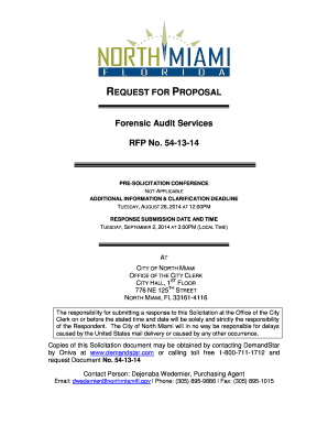 Fillable Online northmiamifl REQUEST FOR PROPOSAL Forensic