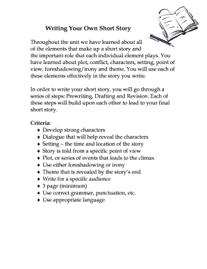 short story to teach plot diagram - Edit, Print, Fill Out