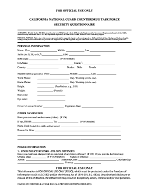 Fillable Online calguard ca CD FORM 301-R PIP Questionnaire