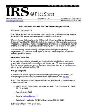 Irs Complaint Form | Fillable Online Irs Complaint Process For Tax Exempt Organizations