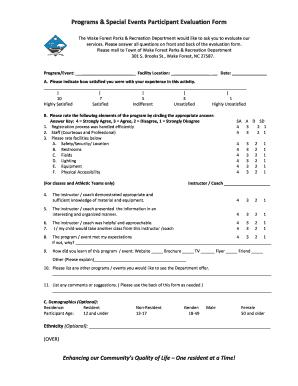 Fillable event participant evaluation form - Edit Online & Download ...