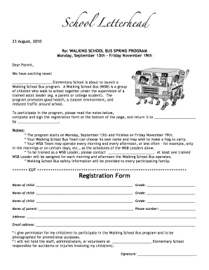 school bus letter to parents - Fillable & Printable Templates to
