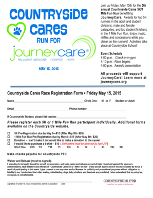 Fillable Online Countryside Cares Race Registration Form