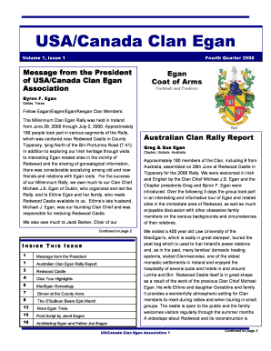 Egan Family Newsletter. Family History - clanegan