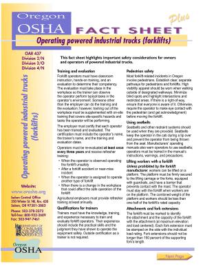 Fillable Online osha oregon OSHA FACT SHEET Operating
