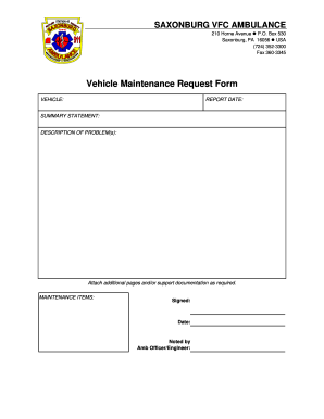 vehicle maintenance request form Fillable Online Vehicle maintenance request form - saxonburg... Fax ...