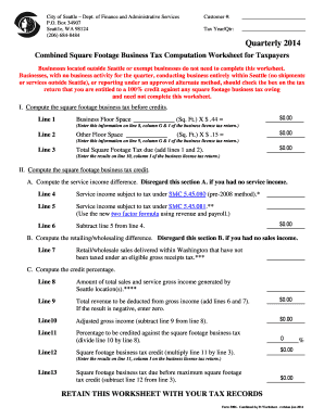 Printables Tax Computation Worksheet 2014 fillable online box 34907 seatt1e wa 98124 206 684 8484 fill online