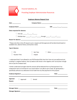 Fillable Online vsi-inc Employee Absence Request Form - vsi-inc ...