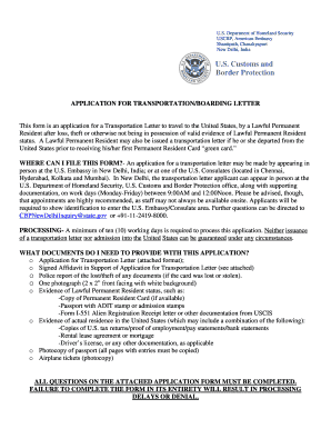 Transportation Letters For Lawful Permanent Residents