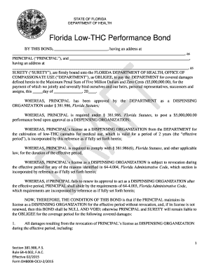 Fillable Online Florida Low-THC Performance Bond, Form DH8008-OCU ...