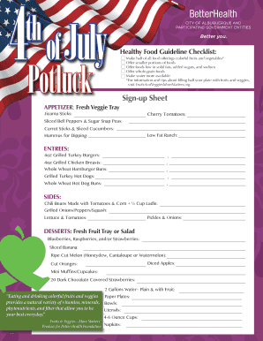 potluck sign up sheet forms and templates fillable printable