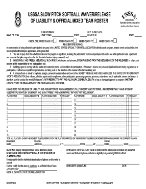 Slow Pitch Softball Liability Waiver - Fill Online, Printable ...