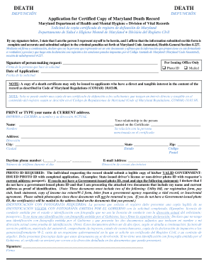 DEATH DEATH   DHMH   Dhmh Maryland · Blank Death Certificate Form