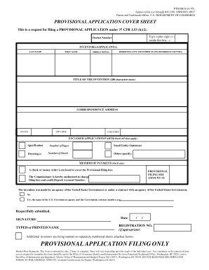 sample provisional patent application cover sheet