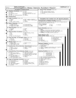 Fillable online transportation nebraska state of nebraska for Motor vehicle crash report codes