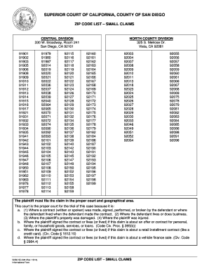 Fillable Online sdcourt ca ZIP CODE LIST SMALL CLAIMS