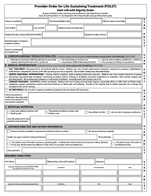Provider Order for Life-Sustaining Treatment (POLST) Utah Life with Dignity Order Bureau of Health Facility Licensing and Certification, Utah Department of Health State of Utah Rule R432-31 v3 - health utah