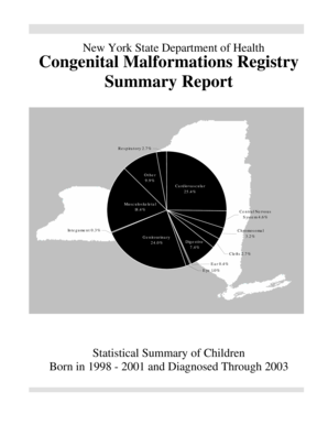 Congenital Malformations Registry Summary Report. Presents rates of congenital malformations occurring among the 1,024,714 children who were born alive to New York residents in 1998-2001 - health ny