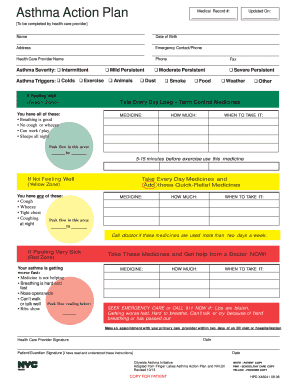 Asthma action plan fill online printable for Asthma care plan template