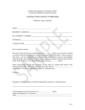 Contractor\'s Notice to Proceed Sample Form