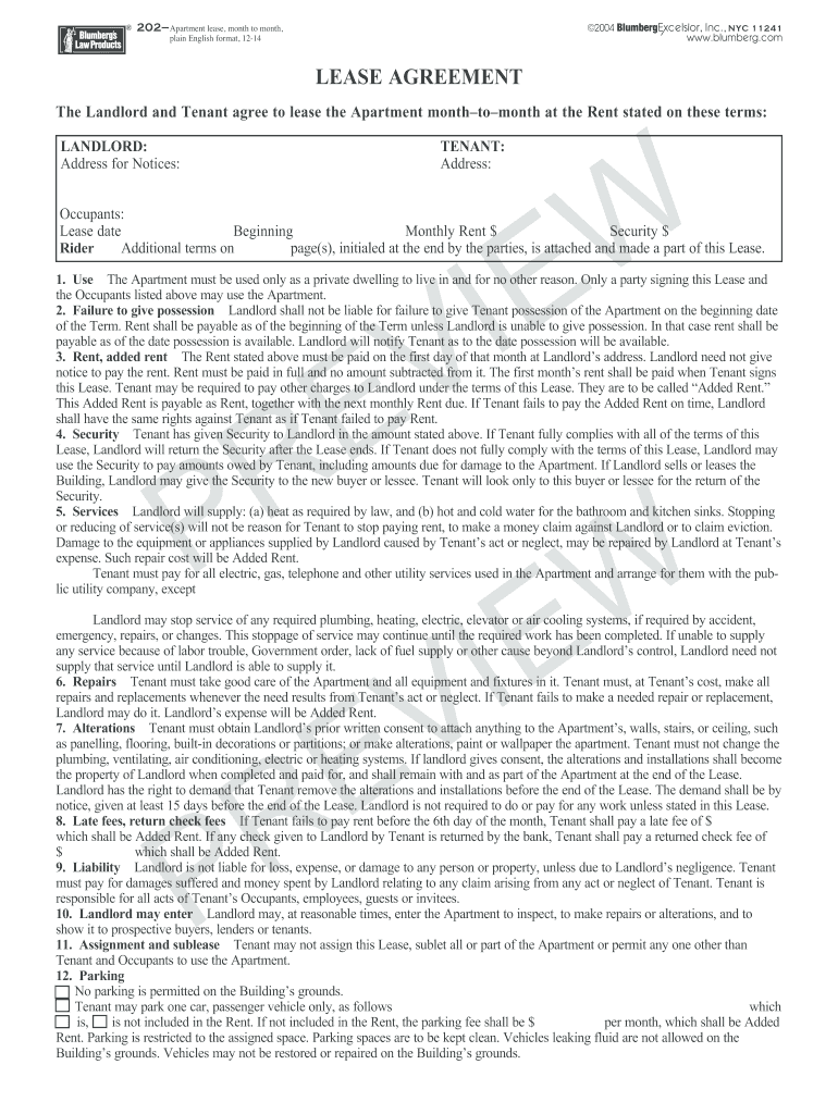 Blumberg Lease Fill Online Printable Fillable Blank Pdffiller