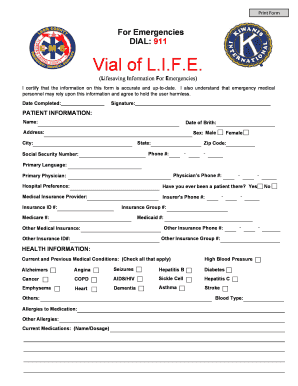 Editable Vial of life kit - Fillable & Printable Online Forms to ...