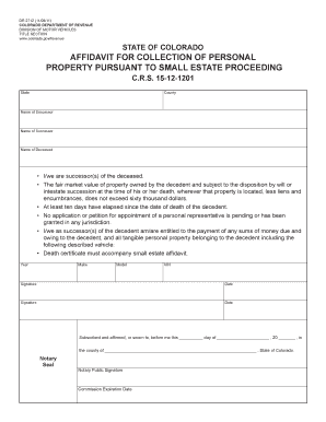 Affidavit for Collection of Personal Property Pursuant to Small Estate ... - colorado