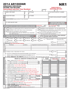 2014 AR1000NR Arkansas Individual Income Tax Return ... - dfa arkansas