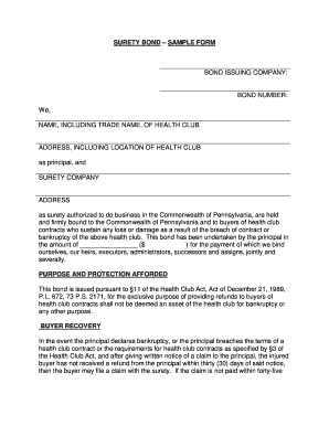 Surety bond sample form bond issuing company fill for Suretyship agreement template