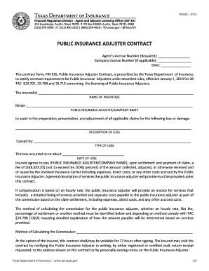 Fillable Online Tdi Texas Public Insurance Adjuster Contract