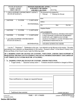Editable indiana child custody modification forms fillable motion for relief after judgment or order and declaration altavistaventures Choice Image