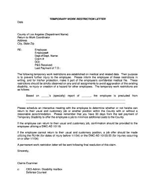 Work Restriction Letter Sample from www.pdffiller.com
