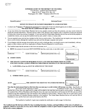 notice to tenant of payment required to avoid eviction form
