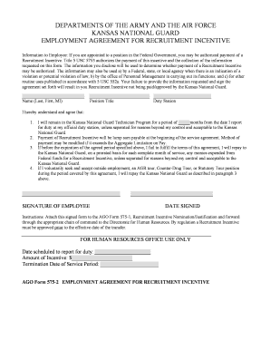 AGO FORM 575_2 Employment Agreement for Recruitment Incentive - kansastag