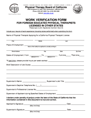 Fillable Online Ptbc Ca Physical Therapy Board Of California Work Verification Form Ptbc Ca Fax Email Print Pdffiller