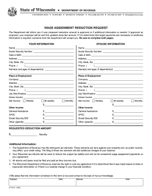 wage assignment form Your wages may be garnished if you owe child support, student loans, or back  taxes, or a court judgment has been entered against you a wage garnishment is .