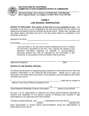 California Form F Law School Verification Form 2016 - Fill Online ...